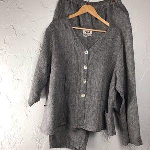 Flax Peplum Jacket set Elastic Linen Pants